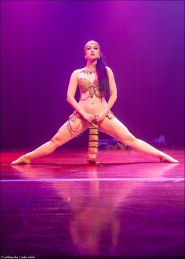 "Michelle L'amour performing her live burlesque striptease: ""Ritual Calling of the Gods of Fuck"" in LIVE NEW'D GIRLS 2013, Mayne Stage, (Mike White)"