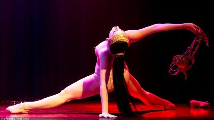 """Michelle L'amour performing her live burlesque striptease: """"Ritual Calling of the Gods of Fuck"""" in LIVE NEW'D GIRLS 2013, Mayne Stage, (Mike White)"""